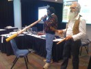Witiyana Marika and Richard Trudgen play a Manikay (Songline) to farewell seminar participants
