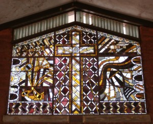 Heritage Stained Glass window in Milingmbi Church, the venue of the 3rd Yolngu Nations Assembly, 2013.