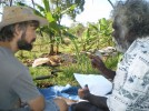 AHED team leader Tim Trudgen working with Yolngu visionary Timothy Demala.
