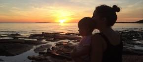 Jazlie Davis Grygoruk with her daughter Sunday in Galiwin'ku.