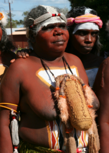 Nyomba Gandangu – wearing the dilly bag at the closing of the Yolngu Ngarra (parliamentary sitting), before assenting to the law.