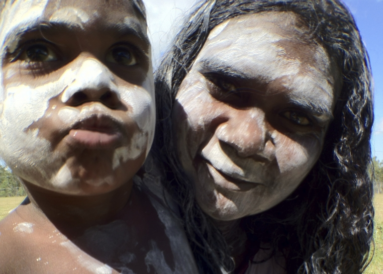 Geraldine & Pam, Jazlie's waku and gutharra (adopted daughter and granddaughter), painted and ready to dance for ceremony