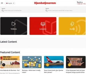 The djambatjmarram home page showing video audio and lessons links